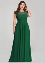 Graceful Lace & Chiffon Jewel Neckline A-line Mother Of The Bride Dresses With Beadings