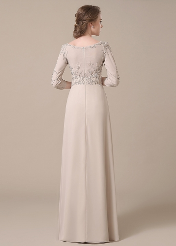 Elegant Chiffon Bateau Neckline Full-length A-line Mother of The Bride Dresses