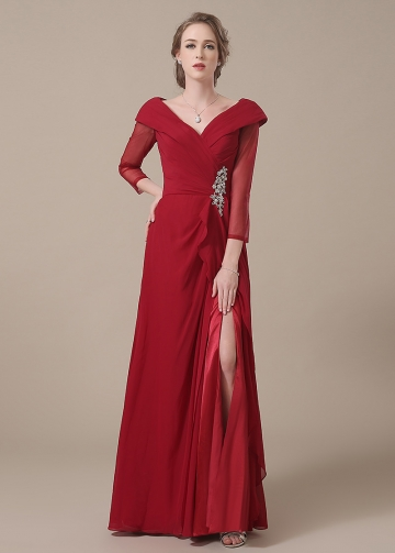 Stunning Chiffon V-neck Neckline Full-length A-line Mother of The Bride Dresses