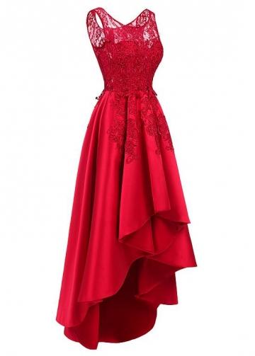 Pretty Tulle & Satin Scoop Neckline Hi-lo A-line Prom Dresses With Hot Fix Rhinestones & Lace Appliques