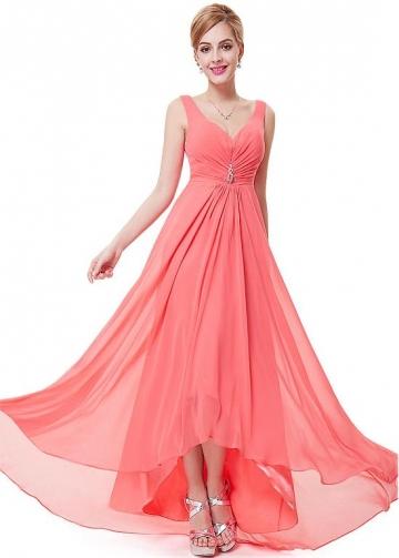 Delicate Chiffon V-neck Neckline Hi-lo A-line Prom / Bridesmaid Dresses