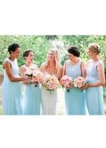 Charming Chiffon Jewel Neckline Full-length A-line Bridesmaid Dress With Belt & Lace Appliques