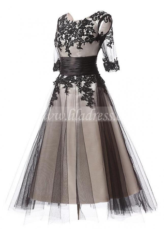 Elegant Tulle Scoop Neckline A-Line Tea-length Prom Dresses With Lace Appliques