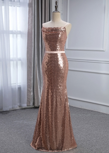 Shimmering Sequins Lace Spaghetti Straps Neckline Sheath/Column Bridesmaid Dress With Belt
