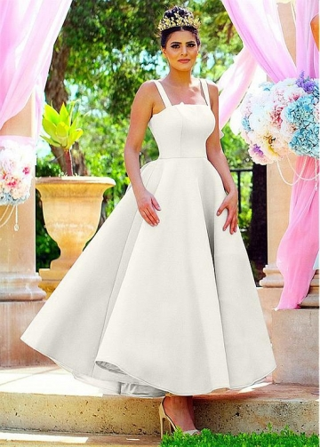 Popular Satin Ankle-length Ball Gown Bridesmaid / Prom Dresses With Bowknot