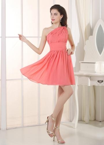 Lovely Chiffon One Shoulder Neckline Short A-line Bridesmaid Dress