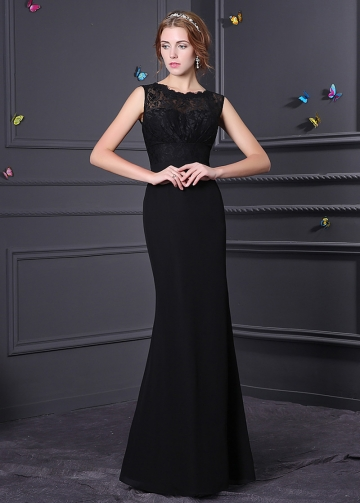 Elegant Lace & Chiffon Bateau Neckline A-line Bridesmaid Dress