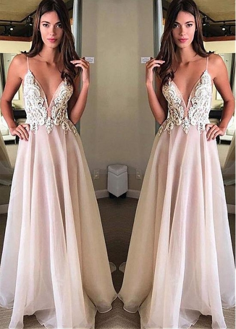 Modest Tulle & Organza Spaghetti Straps Neckline Floor-length A-line Prom Dress With Beadings & Lace Appliques
