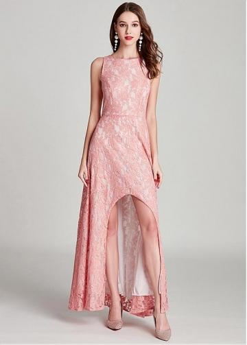 Alluring Lace Bateau Neckline Hi-lo A-line Prom Dress