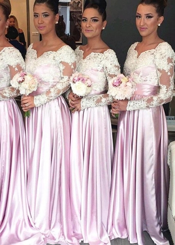 Romantic Tulle & Stretch Satin Asymmetrical Neckline Full-length A-line Bridesmaid Dresses With Long Sleeves
