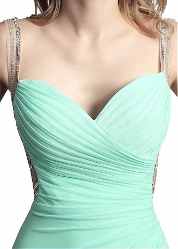 Pretty Chiffon Spaghetti Straps Neckline Floor-length Sheath/Column Prom Dresses With Beadings