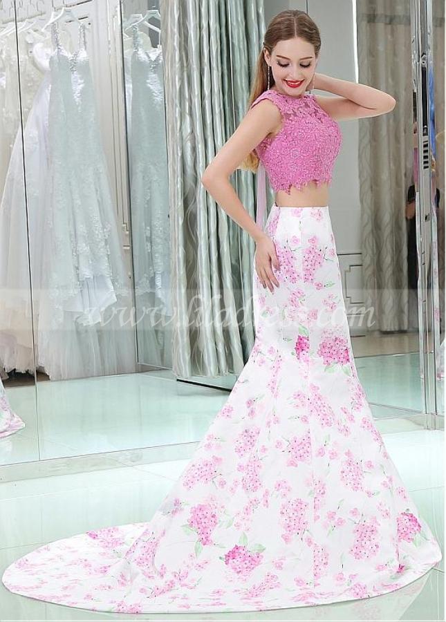 Elegant Bateau Neckline Two-piece Mermaid Prom Dresses With Lace Appliques & Hot Fix Rhinestones