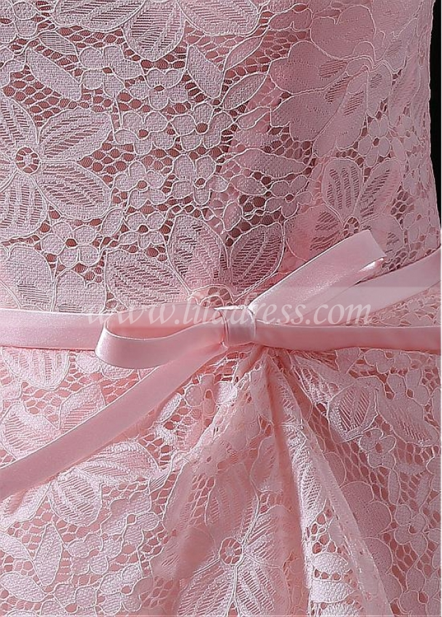 Sweet Tulle & Lace Bateau Neckline Floor-length A-line Prom Dresses With Belt