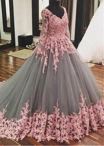 Wonderful Tulle V-neck Neckline Floor-length Ball Gown Quinceanera Dresses With Beaded Lace Appliques