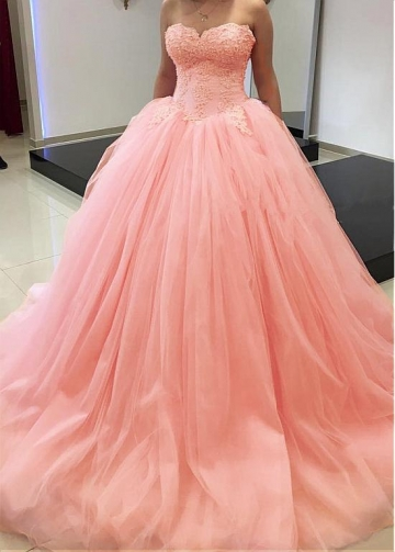 Elegant Tulle Sweetheart Neckline Floor-length Ball Gown Quinceanera Dresses With Beaded Lace Appliques