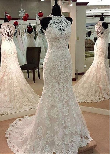 Attractive Tulle Jewel Neckline Mermaid Wedding Dress With Beadings & Lace Appliques