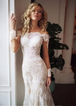 Charming Tulle Off-the-shoulder Neckline 2 In 1 Wedding Dresses With Lace Appliques & Detachable Skirt
