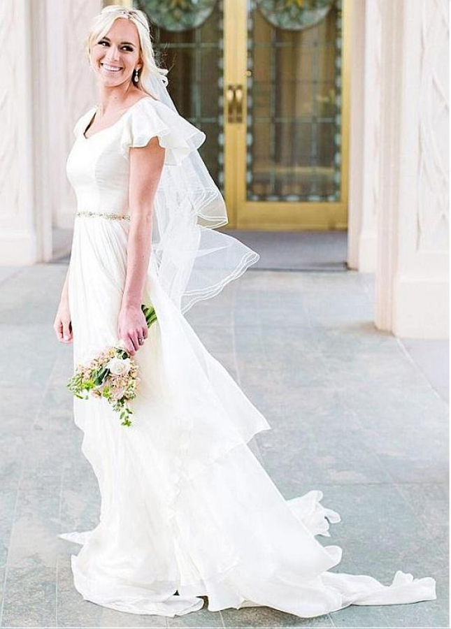 Delicate Chiffon Asymmetrical Neckline A-line Wedding Dresses With Beadings