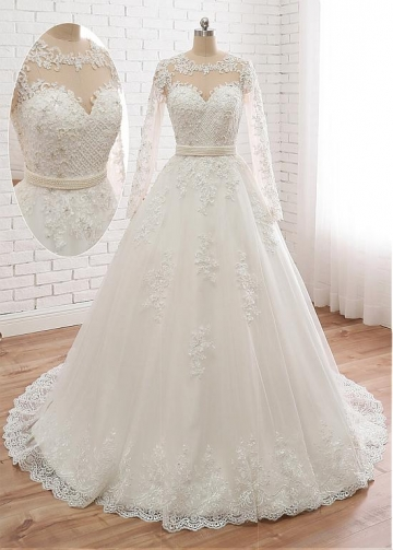 Stunning Tulle Jewe Neckline A-line Wedding Dress With Beaded Lace Appliques & Belt
