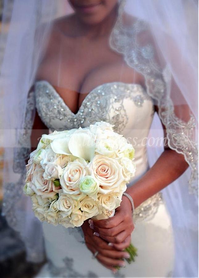 Glamorous Satin Sweetheart Neckline Mermaid Wedding Dresses With Embroidery & Beadings