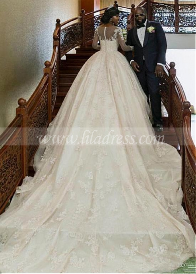 Glamorous Tulle & Satin Bateau Neckline Ball Gown Wedding Dress With Beaded Lace Appliques
