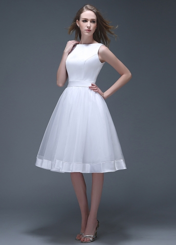 Chic Satin & Organza Bateau Neckline Knee-length A-line Wedding Dresses