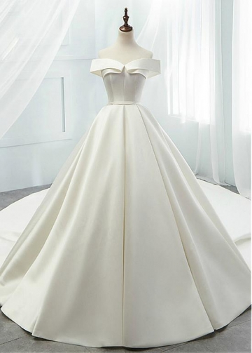 Modest Satin Off-the-shoulder Neckline A-line Wedding Dresses With Belt