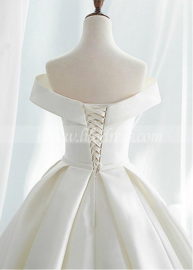 Modest Satin Off-the-shoulder Neckline A-line Wedding Dresses With Belt