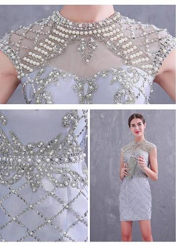 Marvelous Tulle Jewel Neckline Sheath/Column Cocktail Dresses With Beadings