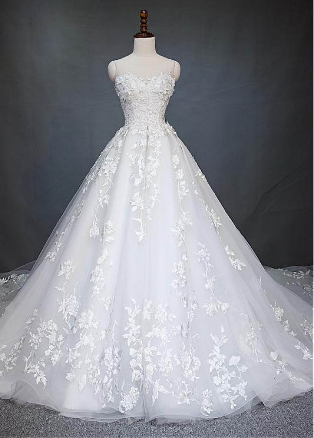 Stunning Tulle Jewel Neckline A-line Wedding Dress With Beaded Embroidery & Handmade Flowers