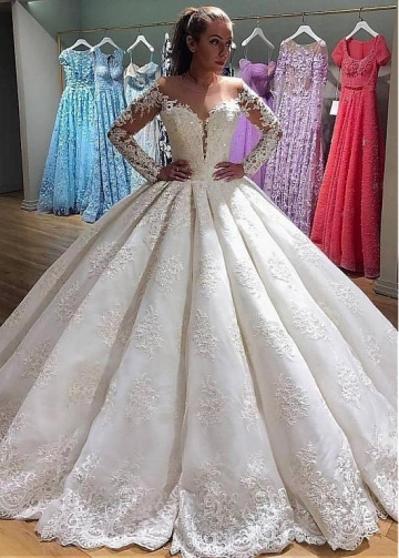 Glamorous Tulle & Organza Jewel Neckline Natural Waistline Ball Gown Wedding Dress With Beaded Lace Appliques