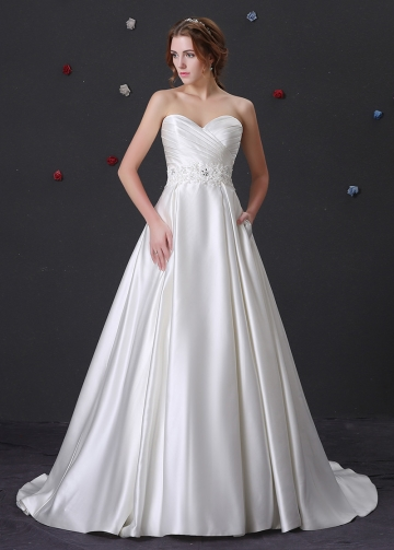 Elegant Satin A-line Wedding Dress With Beaded Lace Appliques