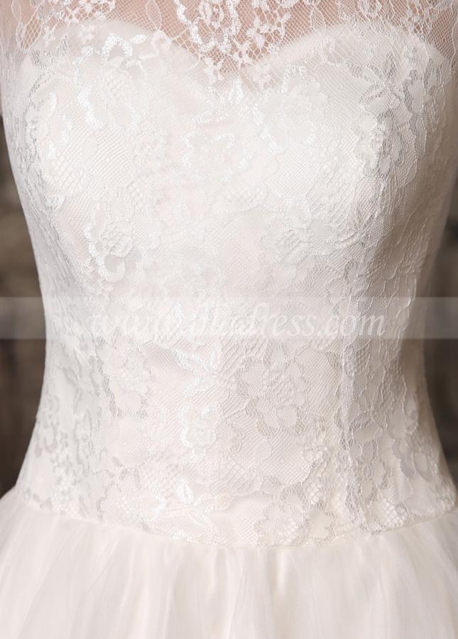 Romantic Lace & Tulle Jewel Neckline Knee-length A-line Wedding Dresses