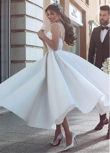 Graceful Satin Spaghetti Straps Neckline A-Line Ankle-Length Wedding Dress With Beaded Lace Appliques