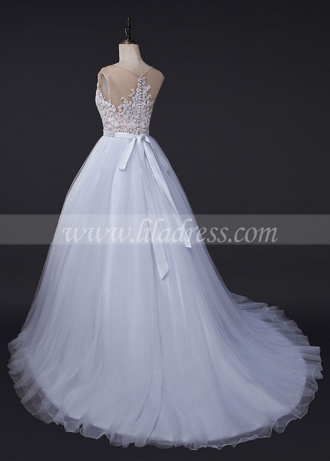 Amazing Tulle Jewel Neckline See-through A-line Wedding Dress With Lace Appliques & Beading & Belt