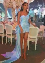 Alluring Skyblue One Shoulder Neckline Short Sheath/Column Cocktail Dress