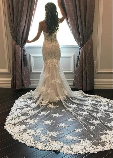 Junoesque Tulle Sweetheart Neckline Mermaid Wedding Dresses With Beaded Lace Appliques