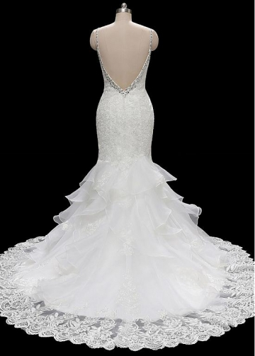 Gorgeous Tulle & Organza Spaghetti Straps Neckline Mermaid Wedding Dresses With Beadings & Lace Appliques