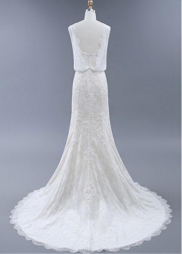 Elegant Tulle & Lace Bateau Neckline Mermaid Wedding Dresses With Beadings & Lace Appliques