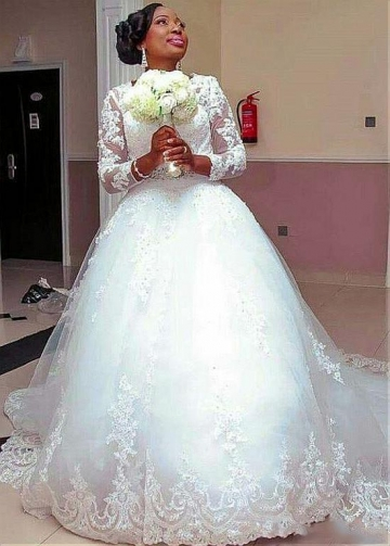 Amazing Tulle Jewel Neckline Ball Gown Wedding Dresses With Lace Appliques & Beadings