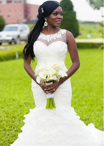 Fantastic Tulle & Organza Jewel Neckline Mermaid Wedding Dress With Lace Appliques