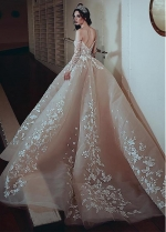 Eyecatching Tulle Off-the-shoulder Neckline Ball Gown Wedding Dress With Beaded Lace Appliques