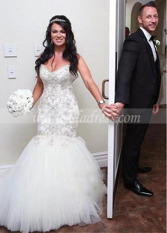 Fantastic Tulle Sweetheart Neckline Mermaid Wedding Dress
