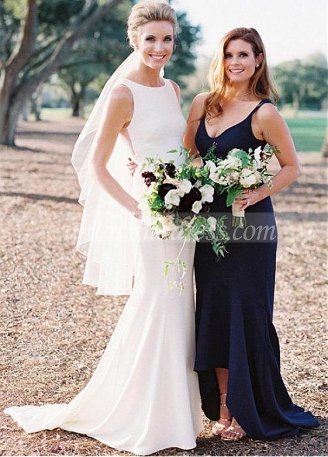 Elegant Satin Jewel Neckline Full Length Mermaid Wedding Dress