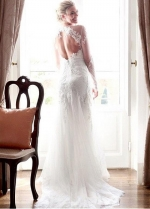 Attractive Tulle & Lace Jewel Neckline Cut-Out Back Wedding Dress With Lace Appliques
