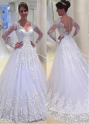 Elegant Tulle V-neck Neckline A-line Wedding Dress With Beaded Lace Appliques