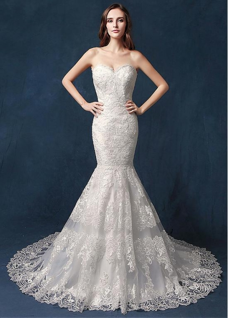 Amazing Tulle Sweetheart Neckline Natural Waistline Mermaid Wedding Dress With Lace Appliques