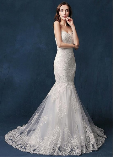Stunning Tulle Sweetheart Neckline Natural Waistline Mermaid Wedding Dress With Lace Appliques