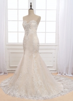 Glamorous Tulle Sweetheart Neckline Mermaid Wedding Dress With Lace Appliques & Beadings