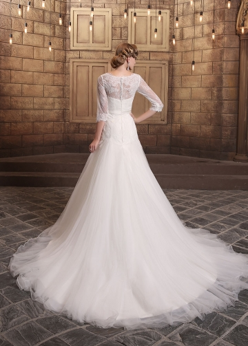 Romantic Tulle & Lace V-neck Neckline Mermaid Wedding Dresses